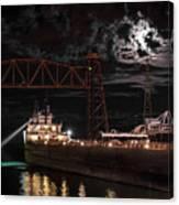 The Michipicoten's Departure Under A Full Moon Canvas Print
