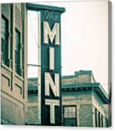 The Mint Classic Neon Sign Livingston Montana Canvas Print