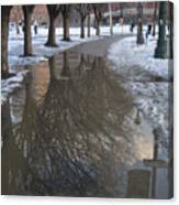 The Mirrored Streets Of Philadelphia In Winter Canvas Print