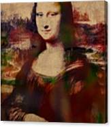 The Mona Lisa Colorful Watercolor Portrait On Worn Canvas Canvas Print