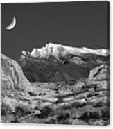 The Moon And The Mountain Range Canvas Print