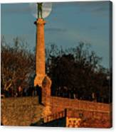 The Moon Rising Behind The Victor Statue In Belgrade In The Golden Hour Canvas Print