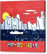 The Motor City - Detroit Michigan Skyline License Plate Art By Design Turnpike Canvas Print
