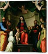 The Mystic Marriage Of St Catherine Of Siena With Saints Canvas Print
