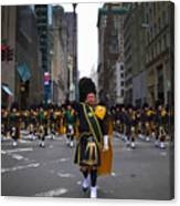 The New York City Police Emerald Society Pipe And Drum Corps Canvas Print