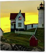 The Nubble Cape Neddick Lighthouse In Maine At Dawn Canvas Print