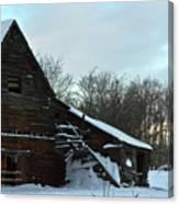 The Old Barn Winter Scene  Canvas Print