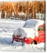 The Old Farm Truck In The Snow Canvas Print