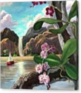 The Orchids And The Sailboat Canvas Print