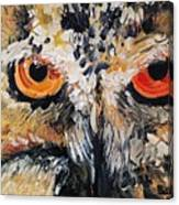The Owl Of Lakshmi Textured Painting_0476 Canvas Print