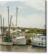 The Paddler Tybee Island Shrimp Boats Canvas Print