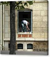 The Painter In The Window Canvas Print