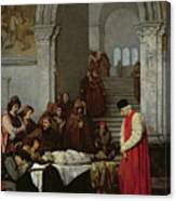 The Painter Luca Signorelli Standing By The Body Of His Rival's Dead Son Canvas Print