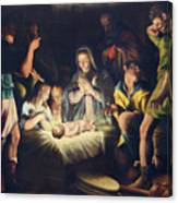 The Painting Of Nativity By Pier Maria Bagnadore Canvas Print