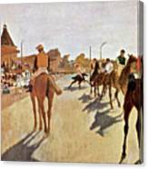 The Parade, Digitally Enhanced Highest Resolution,race Horses In Front Of The Tribune, Edgar Degas Canvas Print