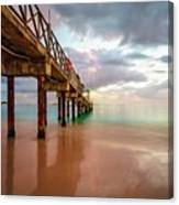 The Pastel Sky And The Jetty Canvas Print