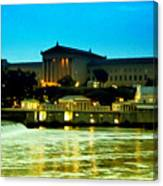 The Philadelphia Art Museum And Waterworks At Night Canvas Print