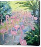 The Pink Pond Of Flamingos Canvas Print