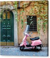 The Pink Vespa Canvas Print