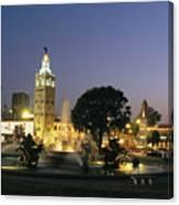 The Plaza In Kansas City, Mo, At Night Canvas Print