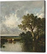 The Pond With Oaks Canvas Print