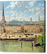 The Port At Rouen Canvas Print