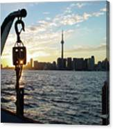 The Precision Of Sunset In The Harbour Canvas Print