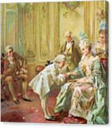 The Presentation Of The Young Mozart To Mme De Pompadour At Versailles Canvas Print