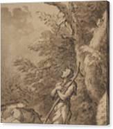 The Prodigal Son Kneeling Repentant Among Swine Canvas Print