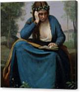The Reader Crowned With Flowers Canvas Print