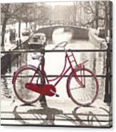The Red Bicycle Of Amsterdam Canvas Print