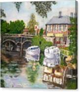 The Red Lion Inn By The Riverbank Canvas Print