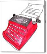The Red Typewriter Canvas Print