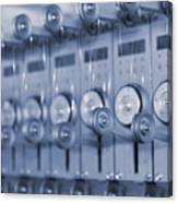 The Reel Spools On The Assembly Line In Blue Canvas Print