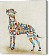The Rhodesian Ridgeback Dog Watercolor Painting / Typographic Art Canvas Print