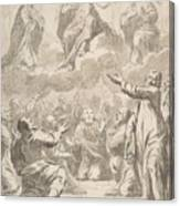 The Risen Christ Between The Virgin And St. Joseph Appearing To St. Peter And Other Apostles Canvas Print