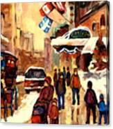 The Ritz Carlton Montreal Streetscene Canvas Print