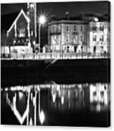 The River Liffey Reflections Bw Canvas Print