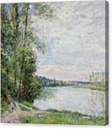 The Riverside Road From Veneux To Thomery Canvas Print