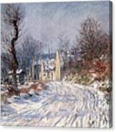 The Road To Giverny In Winter Canvas Print