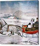 The Road-winter, 1853 Canvas Print