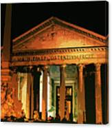 The Roman Pantheon At Night Canvas Print