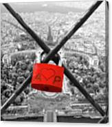 The Romantically Love Inscribed Padlocks On The Eiffel Tower, Pa Canvas Print