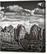 The Rugged Red Rocks In Black And White  Canvas Print