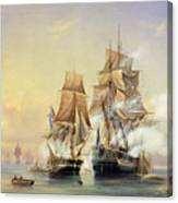The Russian Cutter Mercury Captures The Swedish Frigate Venus On 21st May 1789 Canvas Print