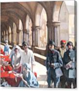 The Scottish Women's Hospital - In The Cloister Of The Abbaye At Royaumont. Canvas Print