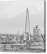 The Shard Outline Poster Bw Canvas Print
