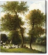 The Shepherd's Break With  His Sheep Canvas Print