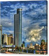 The Skyscraper And Low Clouds Dance Canvas Print