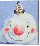 The Snowman's Head Canvas Print